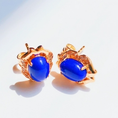 Floriane Women 18K Gold New Baroque Style Three Color Earrings Blue One Pair Zircon Crystal see pictures normal size