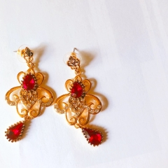 Floriane Women New Vintage Red Earrings One Pair Quality Alloy see pictures normal size