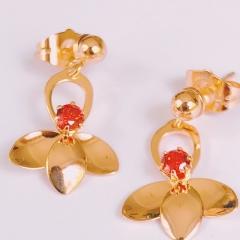 Floriane Women 18K Gold New Honeybee Earrings One Pair Zircon Crystal see pictures normal size