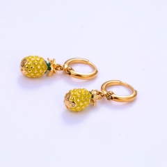 Floriane 18K Gold Women New Cute Tropic Pineapple Earrings One Pair Surface Zircon Crystal see pictures normal size