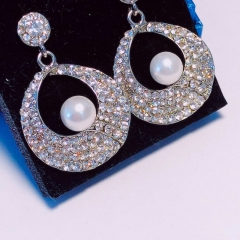 Floriane New Noble Luxurious  Vintage  silvery   Annular Shape  Rhinestone  Loops  Earring see pictures see information below