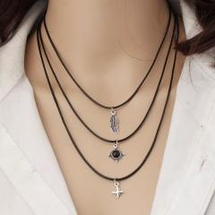 Floriane Women New Hot Western Style Vintage Leaf Star Black Diamond Leather Three  Choke  Necklace black normal size
