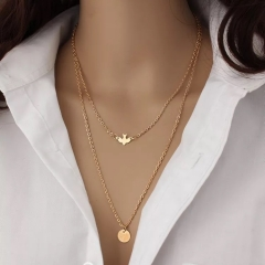 Floriane Women New Western Style Concise Design All-Match Double-Layer Peace Dove Choker Necklace golden normal size