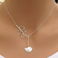 Floriane Women New Hot Western Style Leaf Little Bird Choke Short  Necklace silivery normal size
