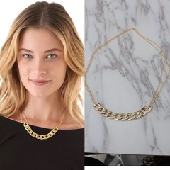 Floriane New Western Super Star The Same Style Concise Golden Metal Chain Choker Necklace golden normal size