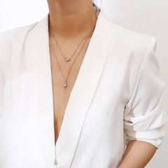 Floriane New Women Western Style Tessels Chain Double-Layer Crystal Pendant Choker Necklace golden normal size