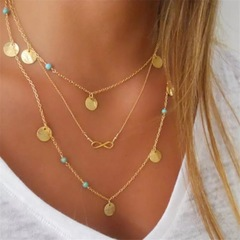 Floriane Women New Concise  Multi-Layer Little Circle Turquoise ''8'' Shape Choker  Necklace golden normal size