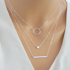 Floriane Women New Stylish Multi Element Combination Circle  Metal BarTwo Color Choker Necklace silivery normal size