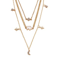 Floriane Women New Stylish Multi-Layer Elephant Moon Star Pendant Two Color Choker Long Necklace golden normal size