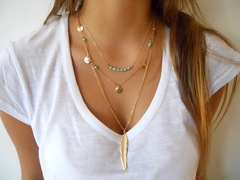 Floriane Women New Multi-Layer Turquoise Sequins Leaf Pendant Two Color Choker Long Necklace golden normal size