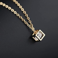 Floriane Women New Stylish Love Magic Cube Crystal Shining Two Color Choker Short Necklace golden normal size