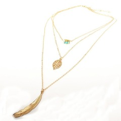 Floriane Women New Stylish Multi-Layer Beads Leaf Feather Pendant Two Color Choker Long Necklace golden normal size