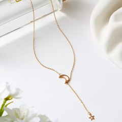 Floriane Women New Stylish Concise Design Monolayer Moon And StarTwo Color Choker Short Necklace golden normal size