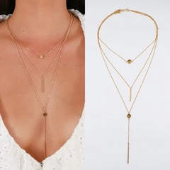 Floriane Women New Small Ball Three-Layer exquisite Metal Rod Pendant Two Color Choker Long Necklace golden normal size