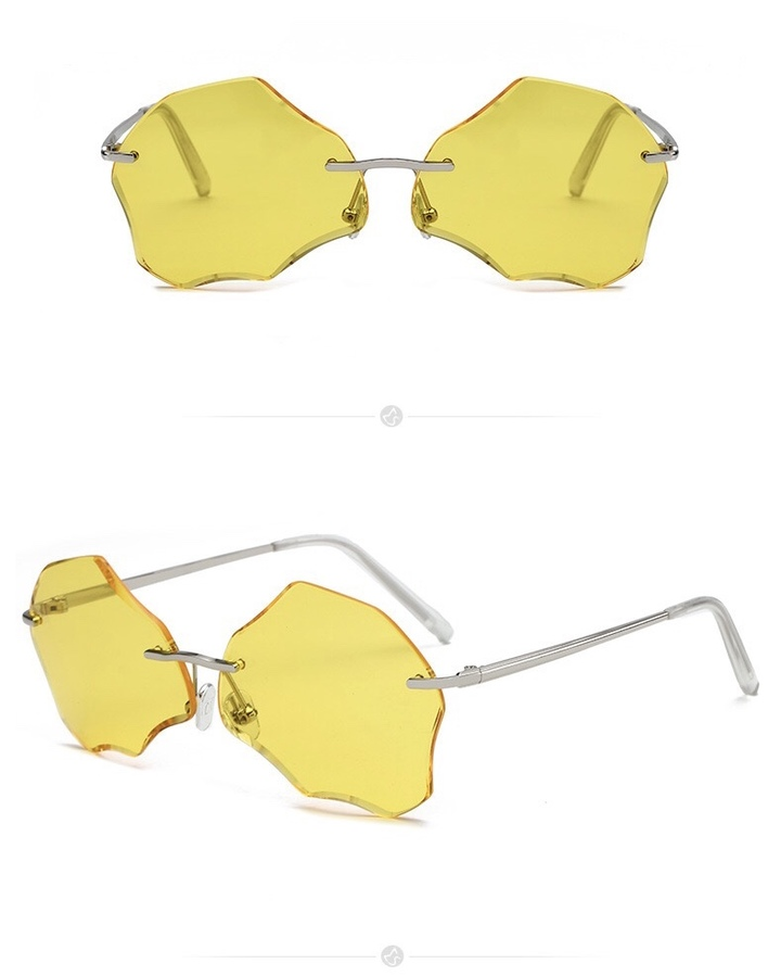 a32922c45be Floriane Sunglasses Men Women UV 400 Irregular Wave Ladies Fashion  Instagram Design Sunglasses yellow