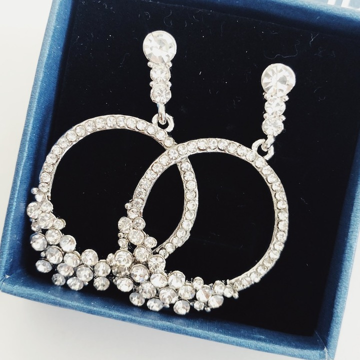 Floriane New Noble Luxurious   Silvery  Circle  Grape Rhinestone  Loops  Earring see pictures see information below