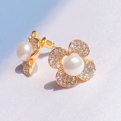Floriane New Luxurious Golden Rhinestone Natural Pearl Lucky Four Leaves Ear studs Earrings Jewelry see pictures see information below