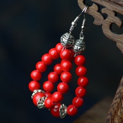Floriane New Good Fortune Red Ball Bead Colorful Stone Earrings Miao Silver Earrings Jewelry see pictures see information below