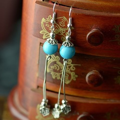 Floriane Women National Fashion Miao Silver Flower Blue Charm Long Earrings Jewelry see pictures see information below