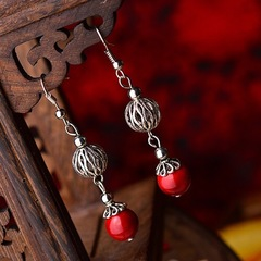 Floriane Women New Hollow Miao Silver Ball Red Colorful Stone Earrings Miao Silvery Jewellry see pictures see information below