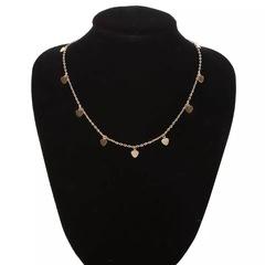 Floriane Women New Concise Little Peach Heart Shape Metal Sequins Two Color Choker Short Necklace golden normal size