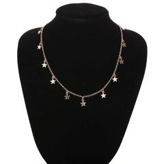 Floriane Women New Persondity Little Five-Star Shape Sequins Two Color Choker Short Necklace golden normal size