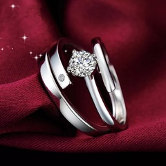 Floriane New 2Pcs Perfect Design High-Quality Silver Diamond Couple Lovers Adjustable Ring J005 silivery adjustable size