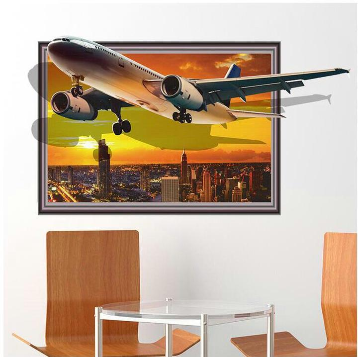 Floriane New 3D Super Cool Simulation Wall Stickers DIY Removable Three Styles Home 60*90cm plane 60×90cm