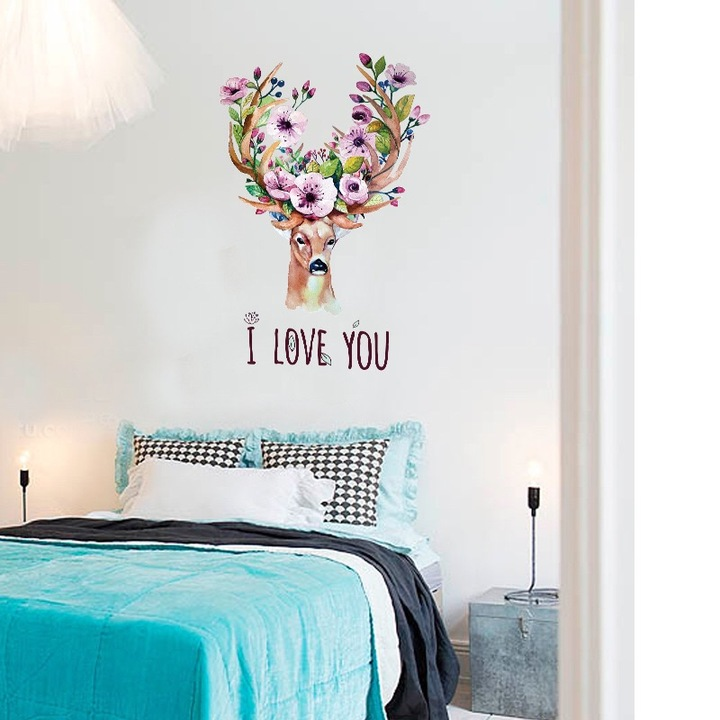 Floriane New Wall Stickers Creative Animal Design DIY Removable Two Styles  Home Decoration 60*90cm deer 60×90cm