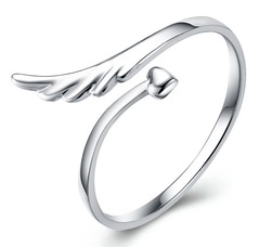 "Floriane New Woman Korea Style Lovely ""Fly"" Personalized Design Silver One Size Adjustable Size Ring silivery adjustable size"