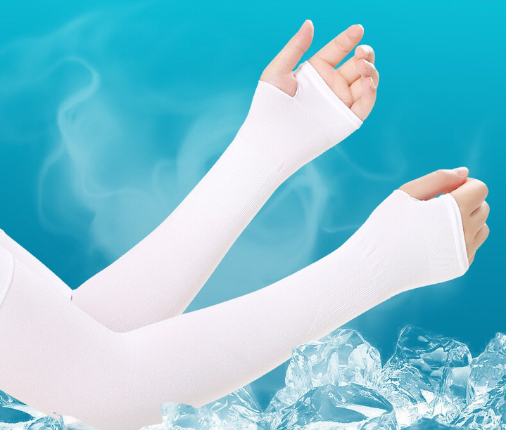 Floriane New Outdoor Sun Protection Sleeves Driving Cool And Refreshing Three Color Man And Woman white