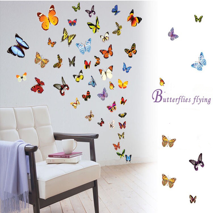 Floriane New Simulation Colorful Butterfly Waterproof DIY Removable Home Decoration 50*70cm butterfly 30×45cm
