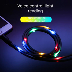 Floriane New Luminous USB Cable Intelligent Voice Control Use For Android Mobilephone black 1m