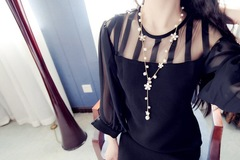 Floriane New Super Beautiful Pearl Five Floret Black Flower Long Necklace Tassel Sweater Chain H026 flower see information below