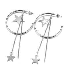 Floriane Woman New Star Branded Hyperbole Little And Big Five Star Shape Silver Earring silvery one size