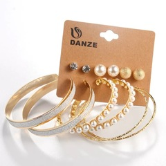Floriane Woman New Fashion 6 Pairs Exaggerated Pearl Diamond Earring Set golden see information below