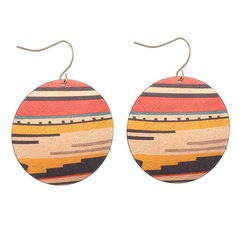 Floriane Woman 2 Pcs Western Style Round Printed Multi-Element Decorative Earring colourful one size