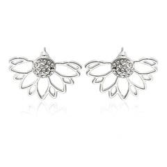 Floriane New Woman Creative Hollows full diamond Boutique Earring H007 silivery one size
