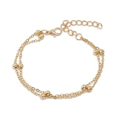 Floriane Woman New Double Chain Beads Anklet Foot Chain Necklace H005 golden one size