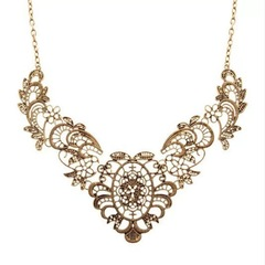 Floriane Woman New Luxurious Noble Lace Effect Flowers  Bronze Color Necklace H002 golden one size