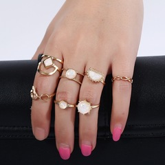 Floriane New Amazon Hot Style Creative Zircon Exquisite 7 Pcs/Set Ring H010 golden one size