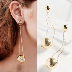Floriane New Fashion Round Ball Pendant Long Chain Earring H016 golden one size