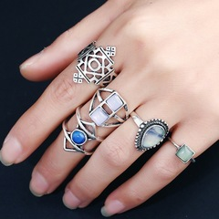Floriane New Geometric Exquisite 5 Pcs/Set Rings H015 silivery one size