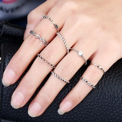 Floriane New Exquisite Retro Pattern Diamond 8 Pcs/Set Rings H013 silivery one size
