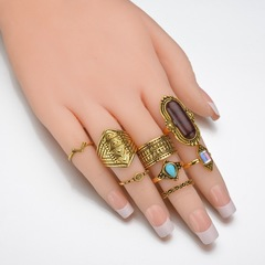 Floriane New Woman Turkish Style Stone Ring 8 Pcs/Set H018 golden one size