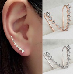 Floriane New Woman Western Style High-Grade Diamond Long Paragraph Bride Hanged  Earring H020 golden one size