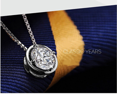 Floriane New Woman Simple Pendant Round Crystal LOVE FOREVER Silver Necklace silivery one size