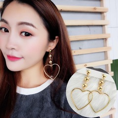 Floriane New Woman Big Love Temperament Long Style Character Golden Pearl Pendant Earring H029 golden one size