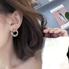 Floriane New Woman Rose Gold Fashion Sparkle Two Circles Temperament Girl Earring H030 wine red color one size