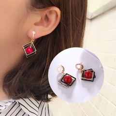 Floriane New Woman High-Grade Temperament Geometry Square Fashion Elegant Cherry Ball Earring H032 red one size